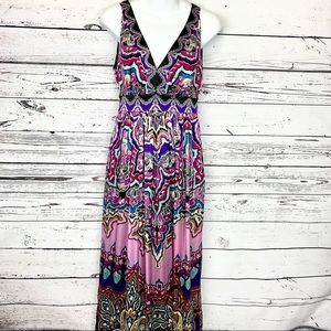 ECI bold colorful silk maxi dress